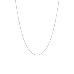 Zoë Chicco 14kt White Gold Itty Bitty Letter Necklace