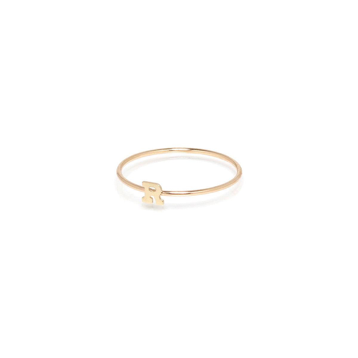 14k gold tiny initial ring