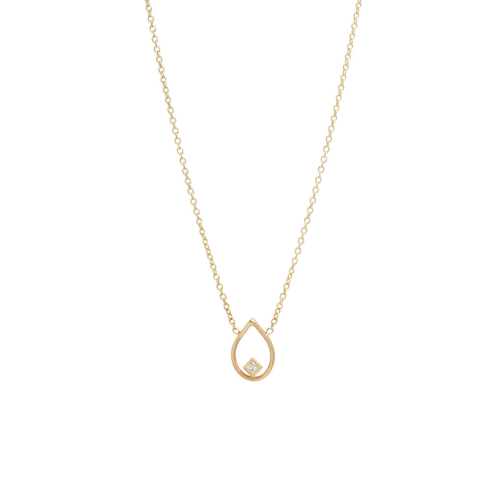 14k open tear princess diamond necklace