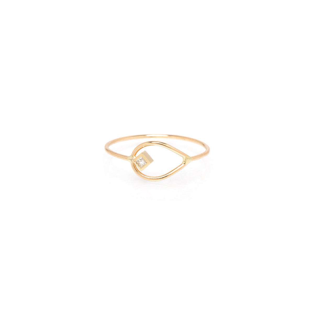 14k horizontal princess diamond open tear ring