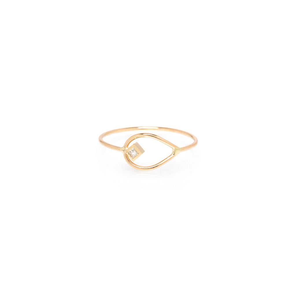 Zoë Chicco 14kt Yellow Gold Horizontal Princess Cut Diamond Open Tear Ring