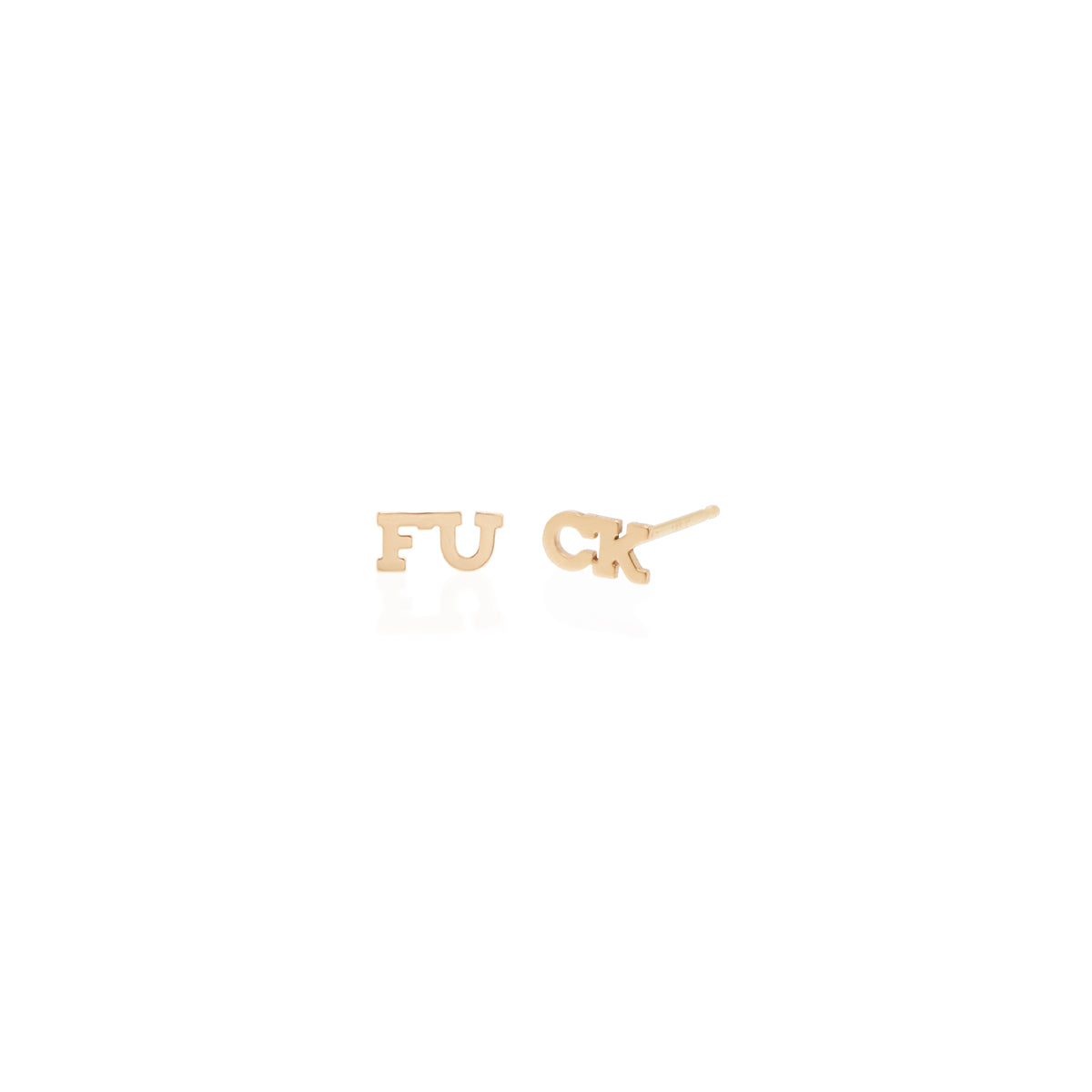 Zoë Chicco 14k Yellow Gold Itty Bitty Split FUCK Stud Earrings
