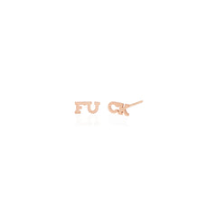 Zoë Chicco 14k Rose Gold Itty Bitty Split FUCK Stud Earrings