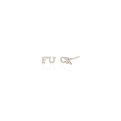 Zoë Chicco 14k White Gold Itty Bitty Split FUCK Stud Earrings