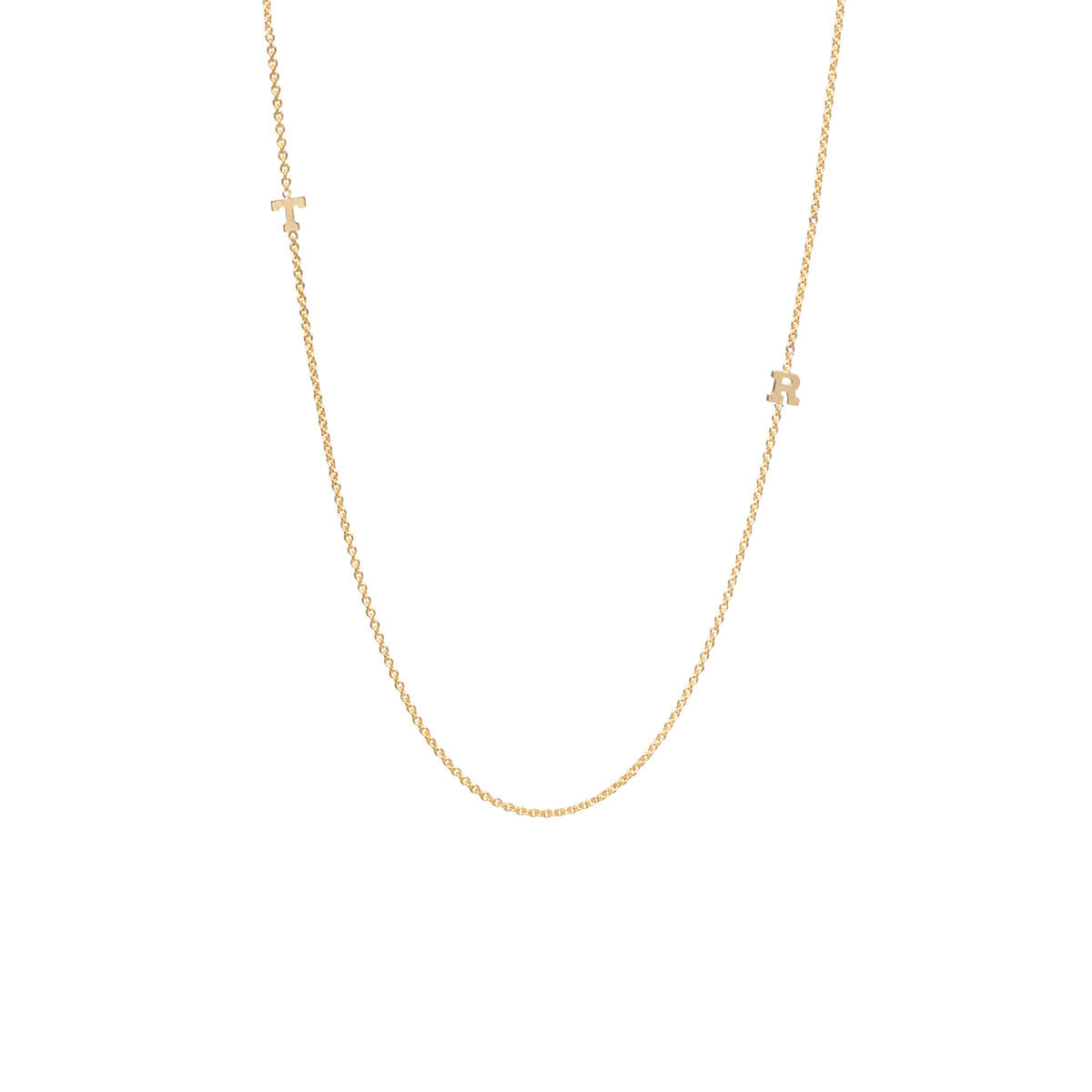 14k 2 tiny gold letter necklace