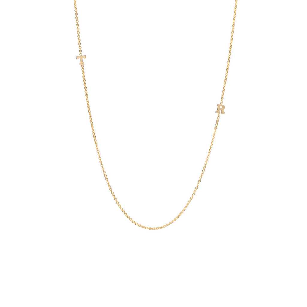 Zoë Chicco 14kt Yellow Gold 2 Tiny Gold Letter Necklace