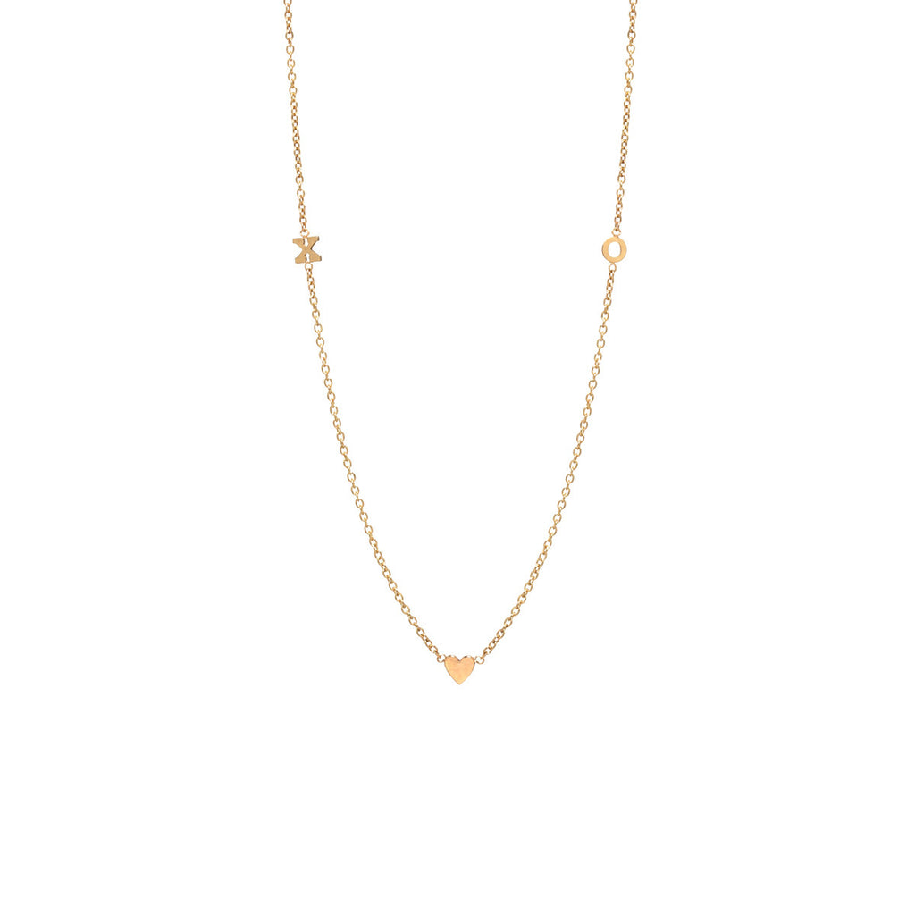 Zoë Chicco 14kt Yellow Gold Itty Bitty 2 Initial & Heart Necklace