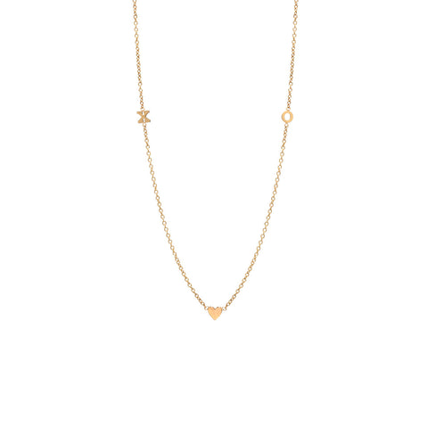 14k tiny 2 initial and heart necklace