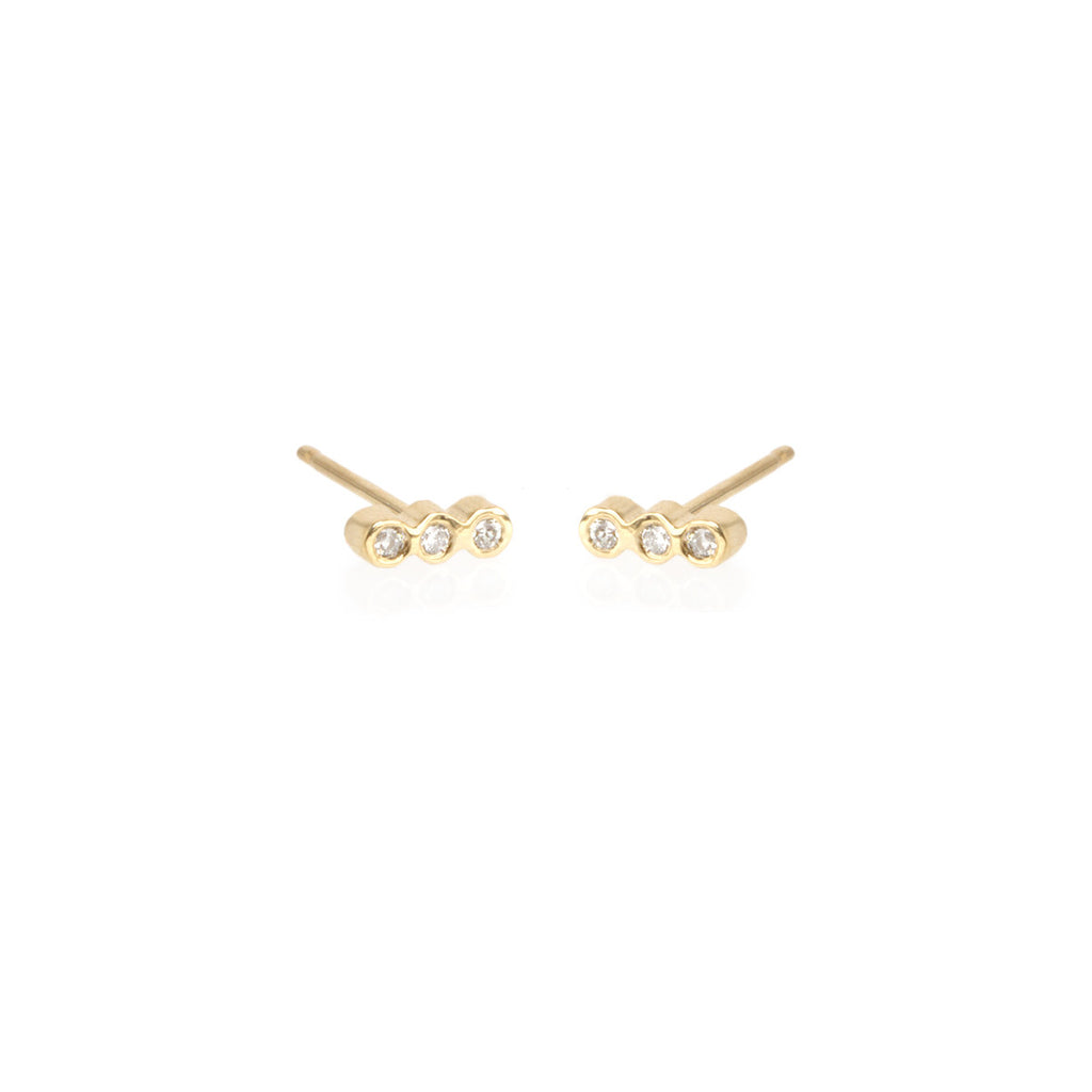14k tiny three bezel diamond bar studs