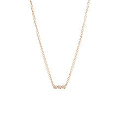 14k tiny three bezel diamond necklace