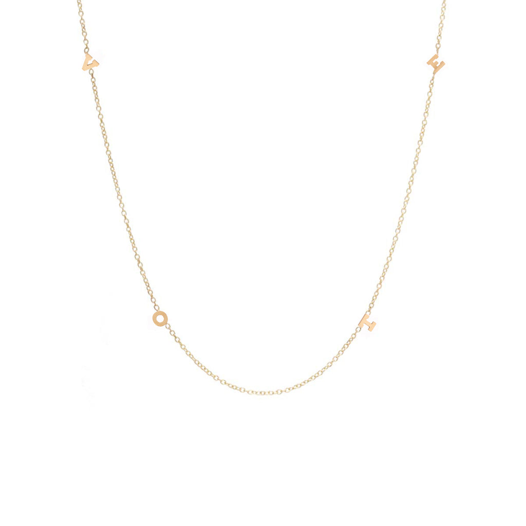 14K itty bitty spread out VOTE necklace