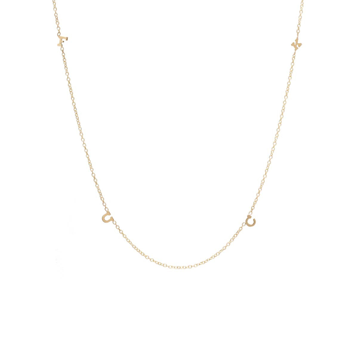 Zoë Chicco 14kt Yellow Gold Itty Bitty Spread Out FUCK Necklace