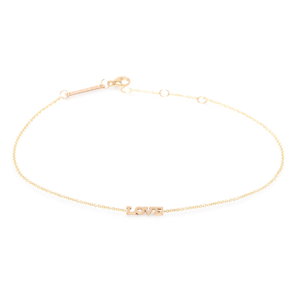 14k itty bitty love anklet