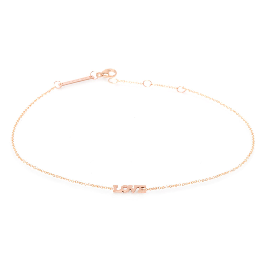 Zoë Chicco 14kt Yellow Gold Itty Bitty LOVE Anklet