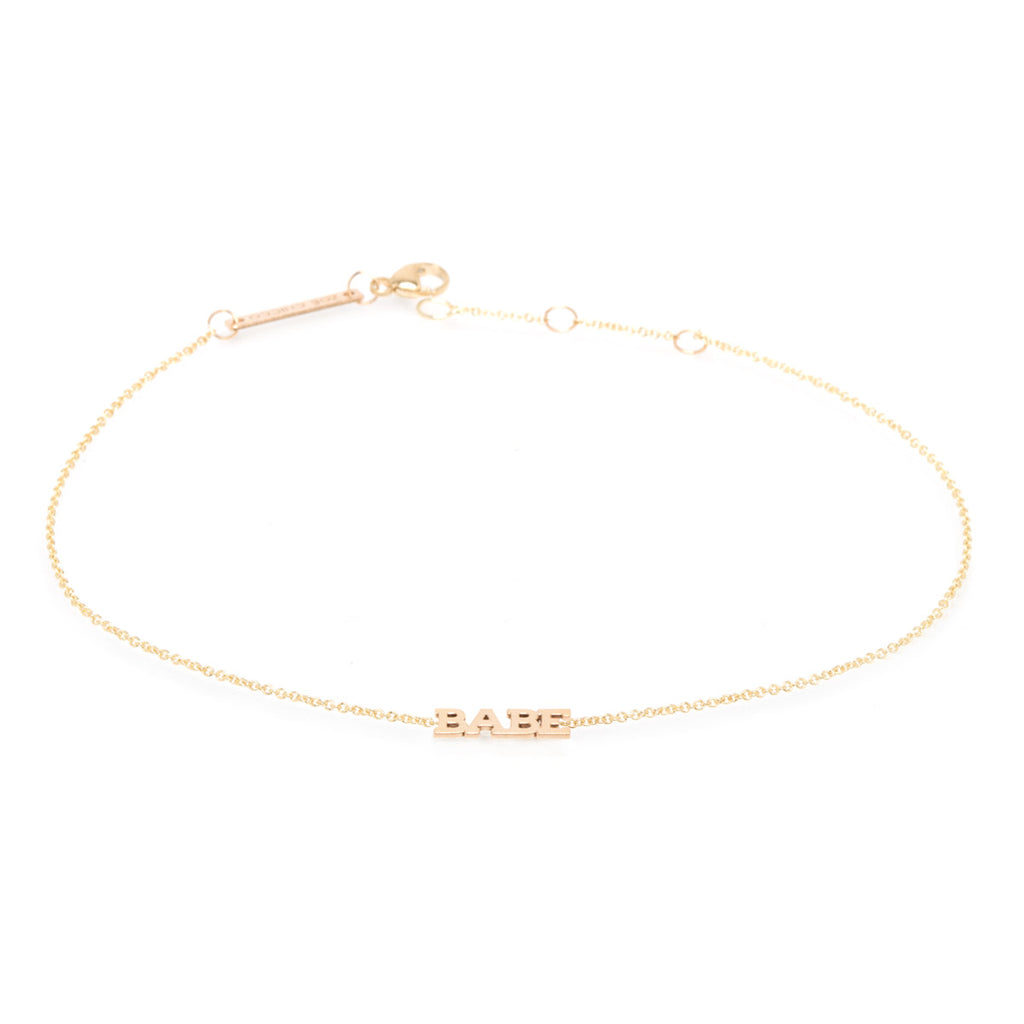 Zoë Chicco 14kt Yellow Gold Itty Bitty BABE Anklet