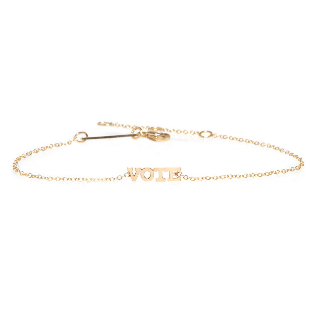 14k itty bitty VOTE bracelet
