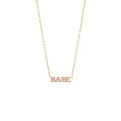 Zoë Chicco 14kt Rose Gold Itty Bitty BABE Necklace