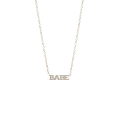 Zoë Chicco 14kt White Gold Itty Bitty BABE Necklace
