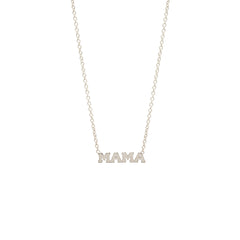 Zoë Chicco 14kt White Gold Itty Bitty MAMA Necklace
