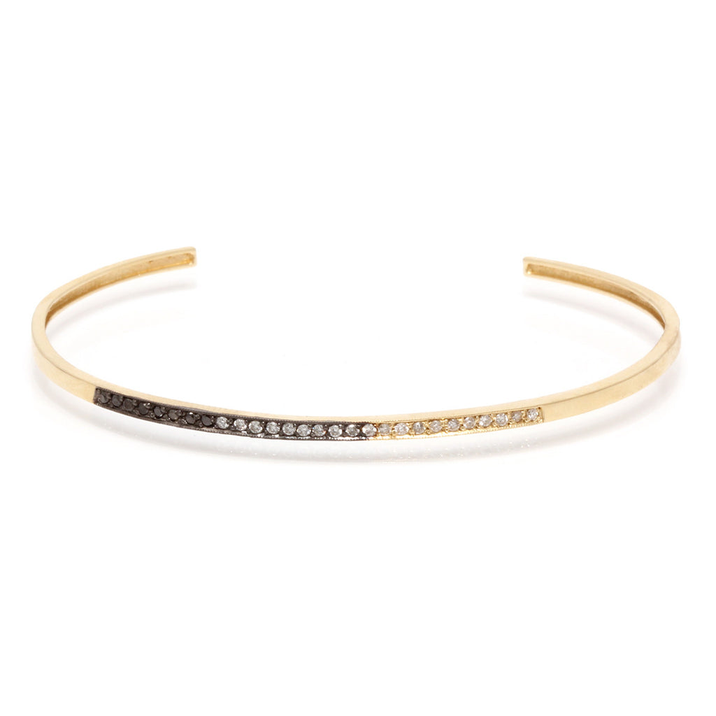 14k ombre pave bar cuff