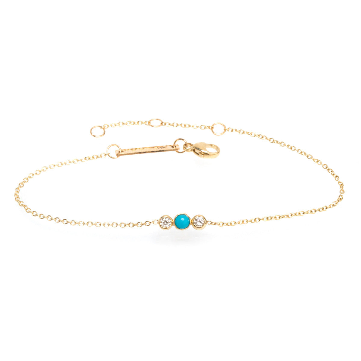 14k turquoise and bezel diamond bracelet