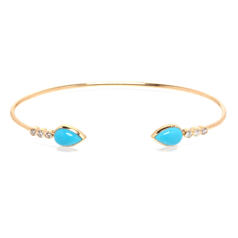 14k two turquoise tear and diamond cuff