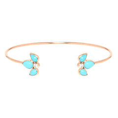 14k turquoise tear and diamond cuff