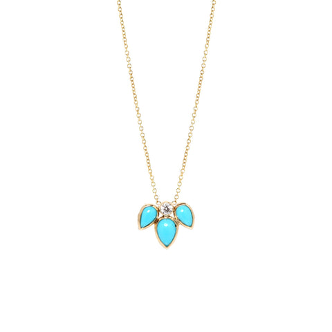 14k turquoise tear & diamond necklace
