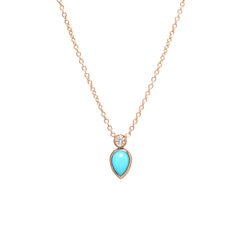 14k turquoise tear and single diamond necklace
