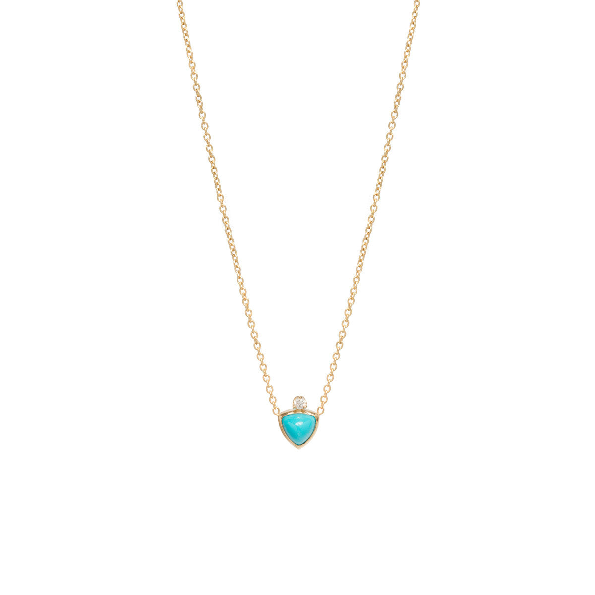 14k trillion turquoise and diamond prong necklace