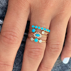 14k turquoise & diamond bezel ring
