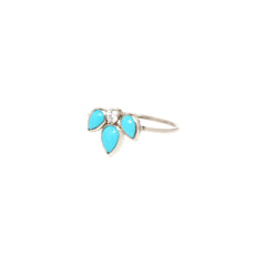 14k turquoise tear & diamond ring