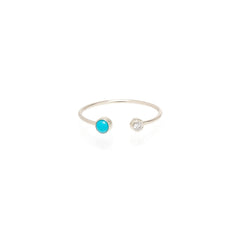14k turquoise & diamond bezel open ring