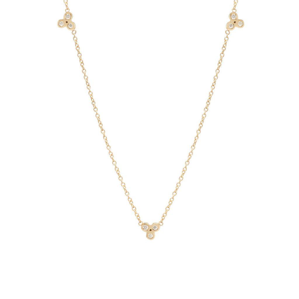 14k 3 tiny bezel diamond trio necklace