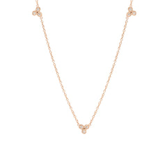Zoë Chicco 14kt Rose Gold 3 Tiny Bezel Set White Diamond Trio Necklace