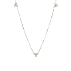 Zoë Chicco 14kt White Gold 3 Tiny Bezel Set White Diamond Trio Necklace