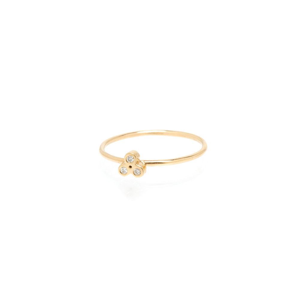 14k tiny diamond trio ring
