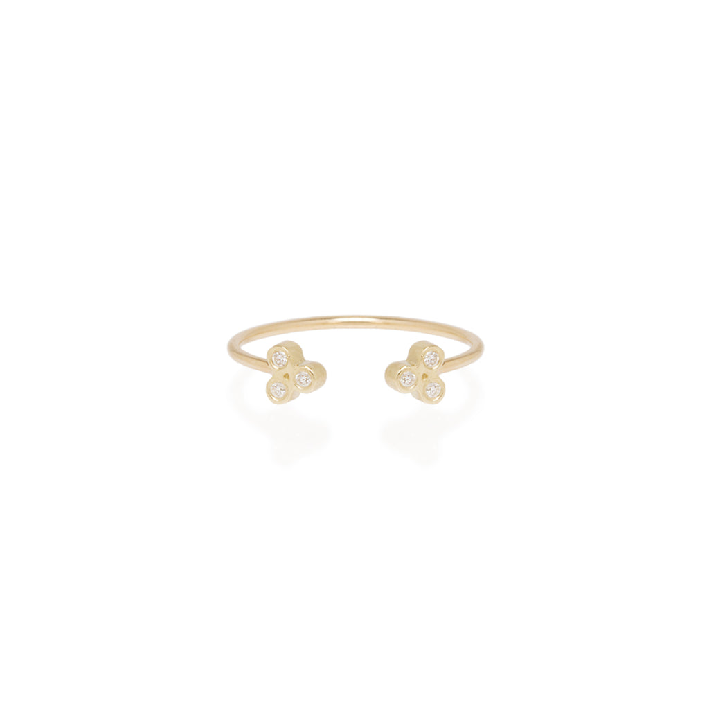 14k open tiny trio diamond ring