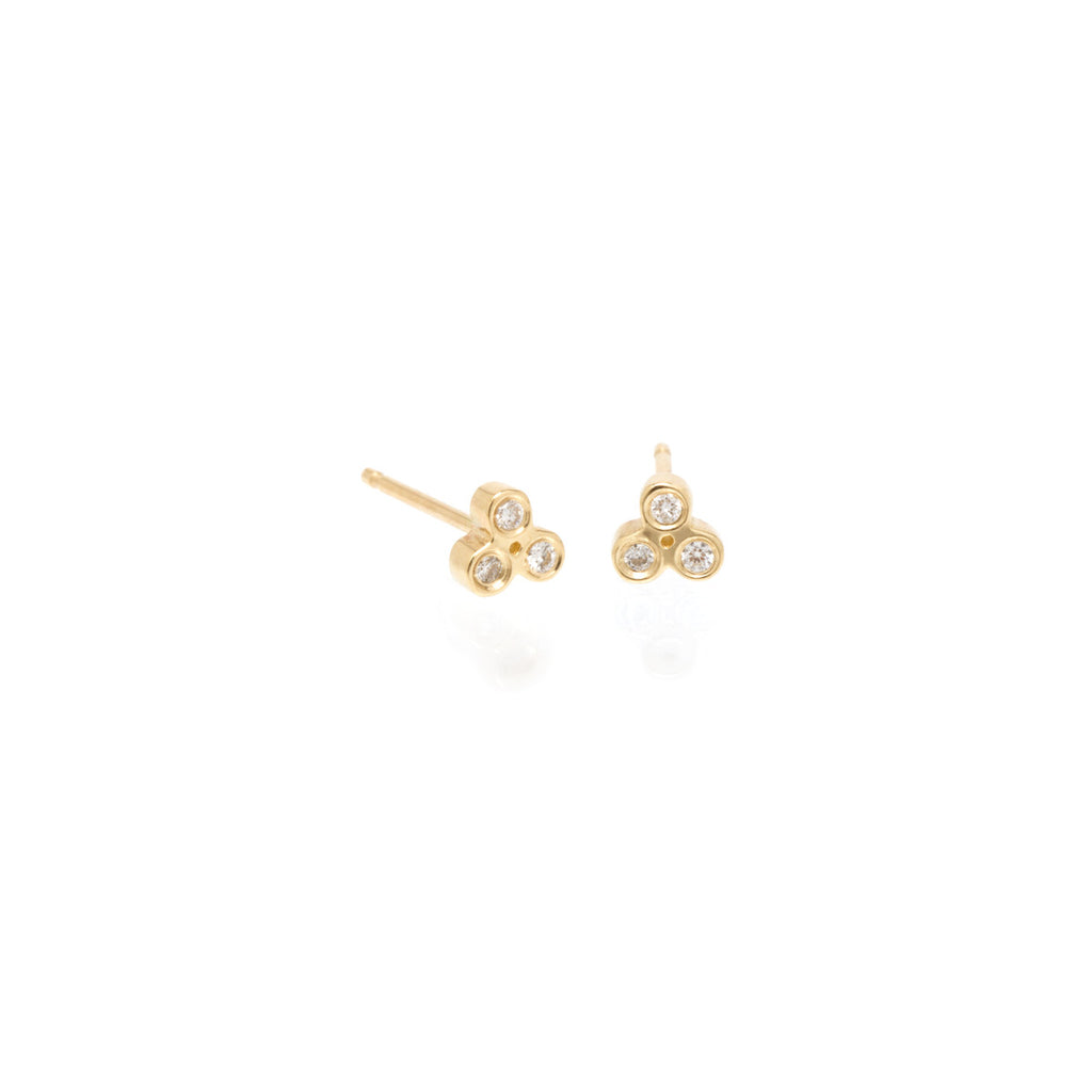 14k tiny trio diamond studs