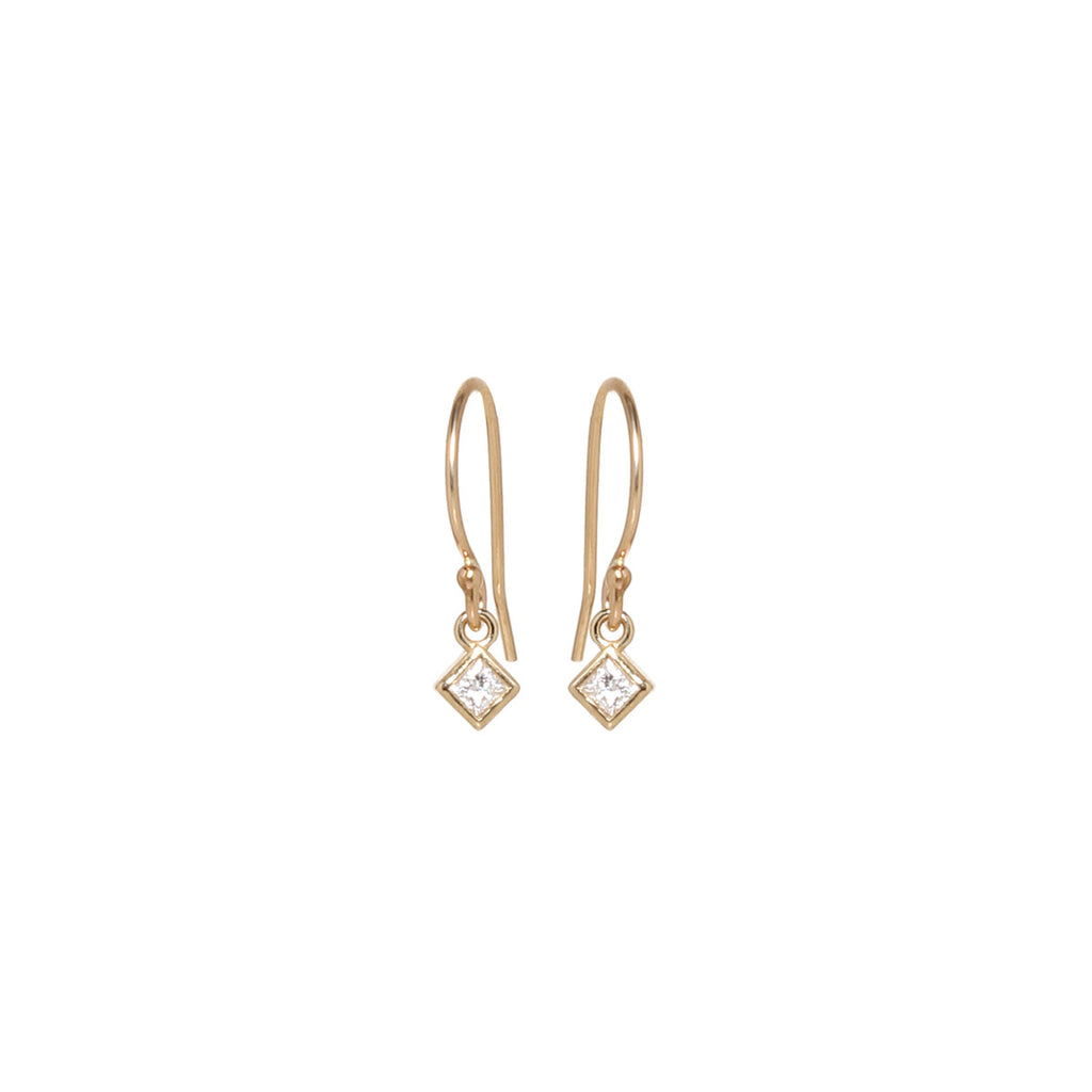 Zoë Chicco 14kt Yellow Gold White Princess Cut Diamond Shaped Drop Earrings