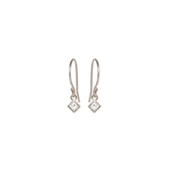 Zoë Chicco 14kt White Gold White Princess Cut Diamond Shaped Drop Earrings