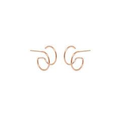 14k thin double huggie hoops