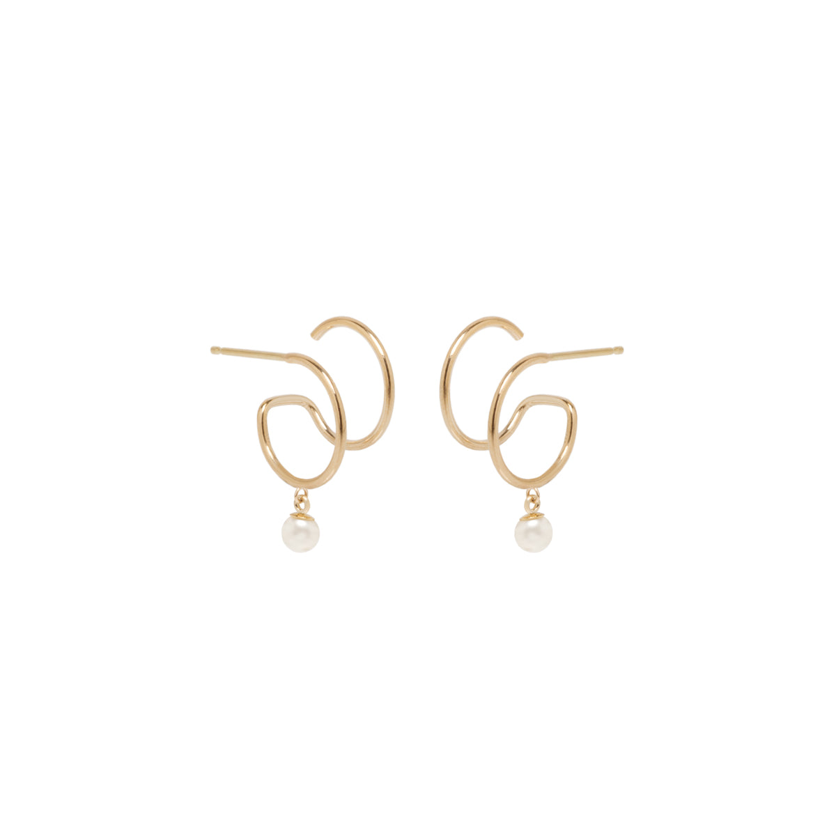 Zoë Chicco 14kt Yellow Gold Dangling Pearl Thin Double Hoop Huggie Earrings