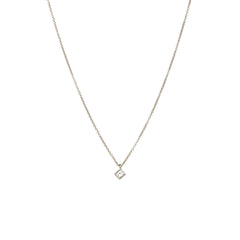 14k tiny princess cut diamond choker necklace