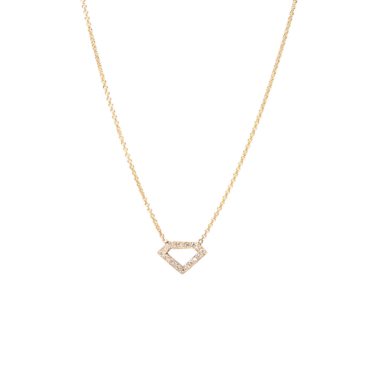 14k pave diamond outline necklace