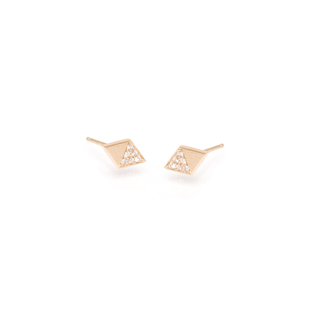 14k flat diamond shaped studs