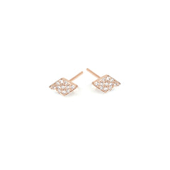 14k pave diamond shaped studs