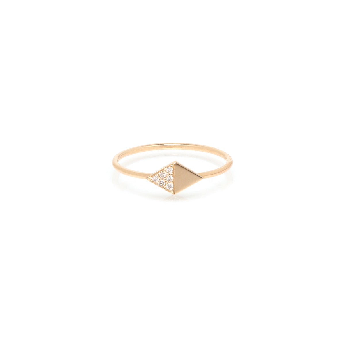 14k half pave diamond shaped ring