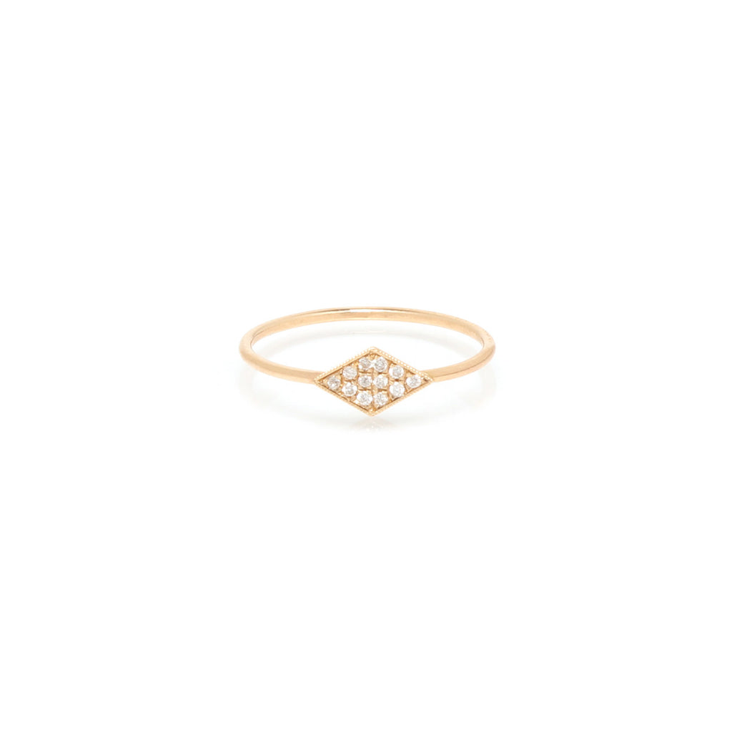 14k pave diamond shaped ring