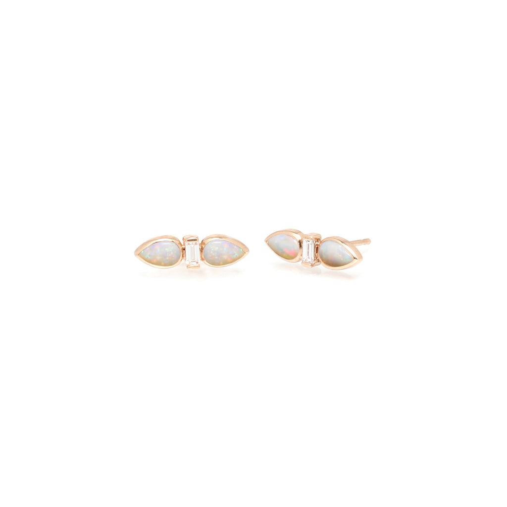 14k two opal teardrop and baguette studs
